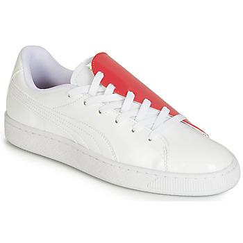kengät Naiset Matalavartiset tennarit Puma WN BASKET CRUSH.WH-HIBISCU Valkoinen