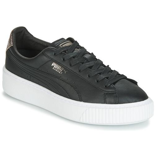kengät Naiset Matalavartiset tennarit Puma WN SUEDE PLATFM OPULENT.BL Black