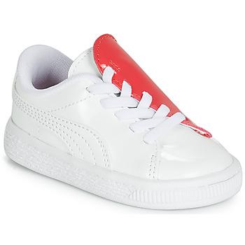 kengät Tytöt Matalavartiset tennarit Puma INF B CRUSH PATENT AC.W-H White