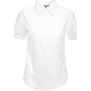vaatteet Naiset Paitapusero / Kauluspaita Fruit Of The Loom 65000 White