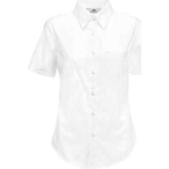 vaatteet Naiset Paitapusero / Kauluspaita Fruit Of The Loom 65014 White
