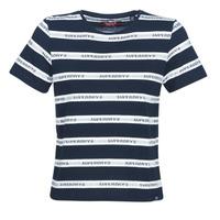 vaatteet Naiset Lyhythihainen t-paita Superdry COTE STRIPE TEXT TEE Laivastonsininen