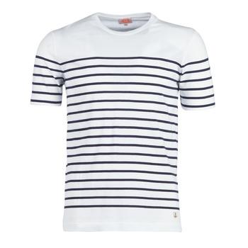 vaatteet Miehet Lyhythihainen t-paita Armor Lux YAYALOUT White / Laivastonsininen
