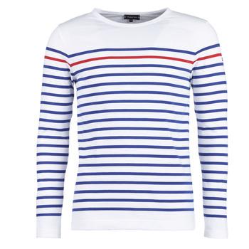vaatteet Miehet T-paidat pitkillä hihoilla Armor Lux YAYAYOUT White / Blue / Red