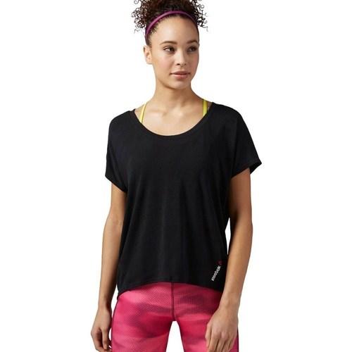 vaatteet Naiset Lyhythihainen t-paita Reebok Sport One Series Burnout Mustat