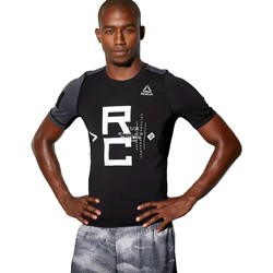 vaatteet Miehet Lyhythihainen t-paita Reebok Sport Combat SS Rash Guard Mustat,Harmaat