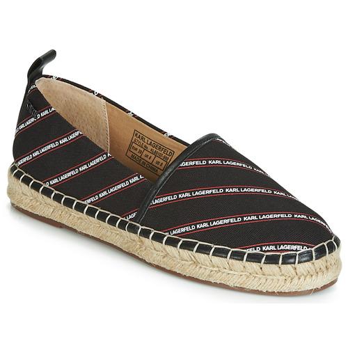 kengät Naiset Espadrillot Karl Lagerfeld KAMINI STRIPE LOGO SLIP Black