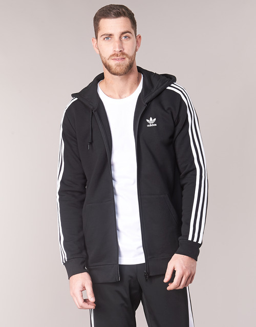 vaatteet Miehet Svetari adidas Originals 3 STRIPES FZ Black