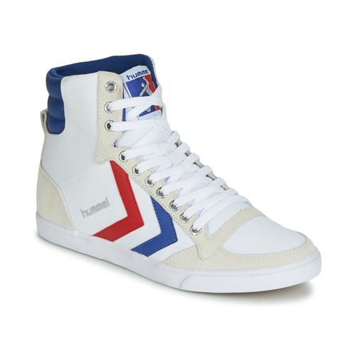 kengät Miehet Korkeavartiset tennarit Hummel TEN STAR HIGH CANVAS White / Blue / Red