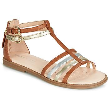 kengät Tytöt Sandaalit ja avokkaat Geox J SANDAL KARLY GIRL Camel / Kulta