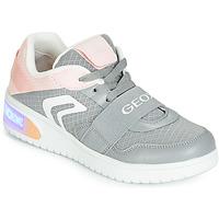 kengät Tytöt Korkeavartiset tennarit Geox J XLED GIRL Grey / Pink