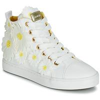 kengät Tytöt Korkeavartiset tennarit Geox JR CIAK GIRL White / Fleurs / Tan crumpled lea