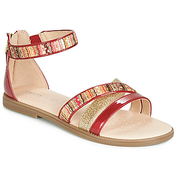 kengät Tytöt Sandaalit ja avokkaat Geox J SANDAL KARLY GIRL Red / Kulta