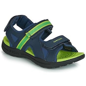kengät Pojat Urheilusandaalit Geox J GLEEFUL BOY Blue / Yellow