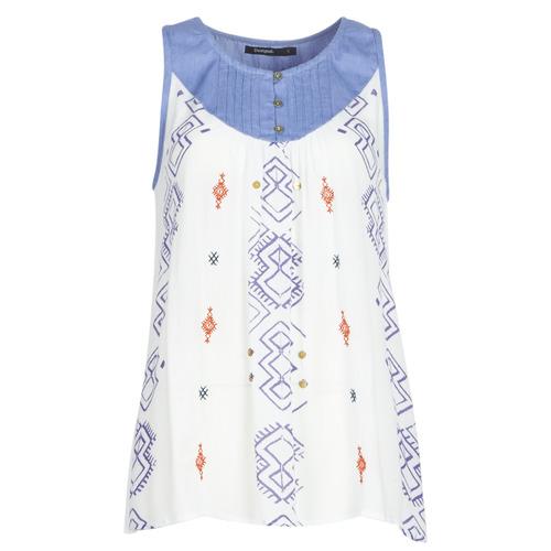 vaatteet Naiset Hihattomat paidat / Hihattomat t-paidat Desigual MEKANE White / Blue