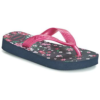 kengät Tytöt Varvassandaalit Havaianas KIDS FLORES Laivastonsininen / Pink