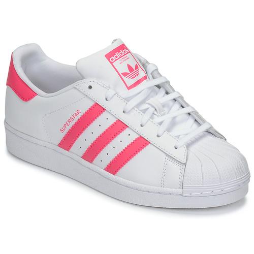 kengät Tytöt Matalavartiset tennarit adidas Originals SUPERSTAR J White / Pink