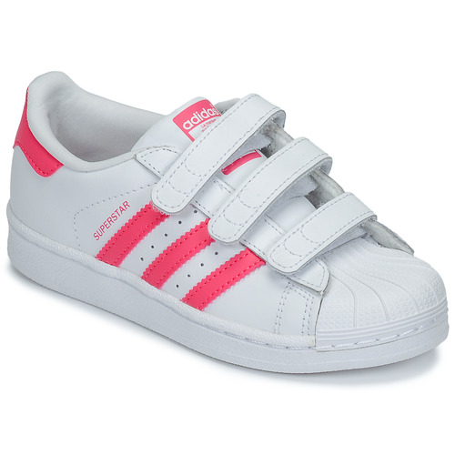 kengät Tytöt Matalavartiset tennarit adidas Originals SUPERSTAR FOUNDATIO White / Pink