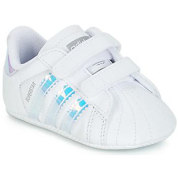 kengät Tytöt Matalavartiset tennarit adidas Originals SUPERSTAR CRIB Valkoinen