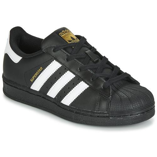 kengät Lapset Matalavartiset tennarit adidas Originals SUPERSTAR C Black / White