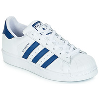 kengät Lapset Matalavartiset tennarit adidas Originals SUPERSTAR J White / Blue