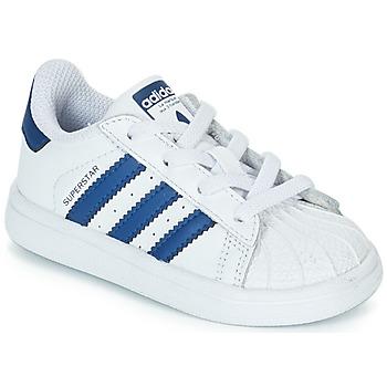 kengät Lapset Matalavartiset tennarit adidas Originals SUPERSTAR EL Valkoinen / Sininen