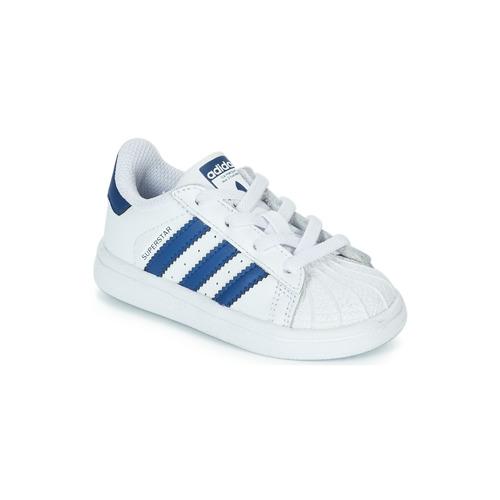 kengät Lapset Matalavartiset tennarit adidas Originals SUPERSTAR EL White / Blue