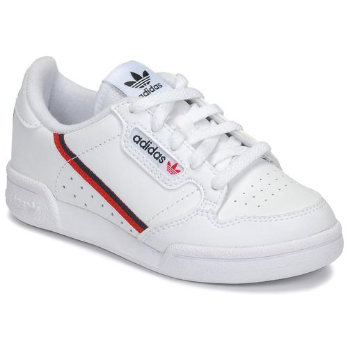 kengät Lapset Matalavartiset tennarit adidas Originals CONTINENTAL 80 C White