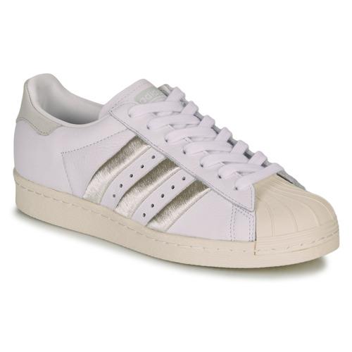 kengät Naiset Matalavartiset tennarit adidas Originals SUPERSTAR 80s W White / Beige