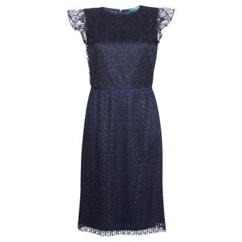 vaatteet Naiset Lyhyt mekko Lauren Ralph Lauren LACE CAP SLEEVE DRESS Laivastonsininen