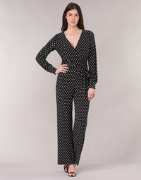vaatteet Naiset Jumpsuits / Haalarit Lauren Ralph Lauren POLKA DOT WIDE LEG JUMPSUIT Black / White