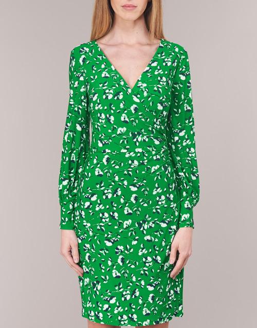 Lauren Ralph Floral Print-long Sleeve-jersey Day Dress Green - Ilmainen Toimitus- Vaatteet Lyhyt Mekko Naiset 97