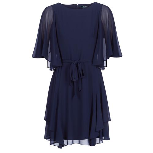 vaatteet Naiset Lyhyt mekko Lauren Ralph Lauren NAVY-3/4 SLEEVE-DAY DRESS Laivastonsininen