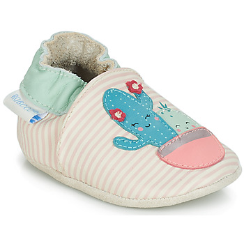 kengät Tytöt Vauvan tossut Robeez CACTUS Ecru / Pink