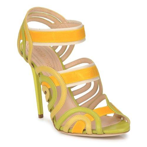 kengät Naiset Sandaalit ja avokkaat Roberto Cavalli RPS691 Green / Yellow