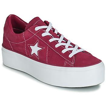 kengät Naiset Matalavartiset tennarit Converse ONE STAR PLATFORM SUEDE OX Fuksia / White