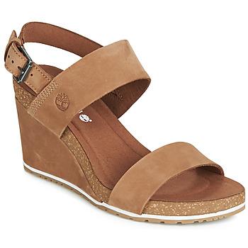 kengät Naiset Sandaalit ja avokkaat Timberland CAPRI SUNSET WEDGE Brown