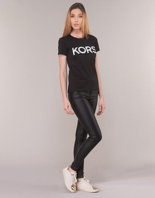 Michael Kors Graphc Ss Tshirt Black / Hopea - Ilmainen Toimitus- Vaatteet Lyhythihainen T-paita Naiset 69