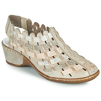 kengät Naiset Sandaalit ja avokkaat Rieker ROBERTO Hopea