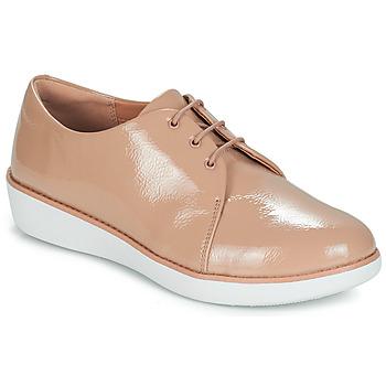 kengät Naiset Derby-kengät FitFlop DERBY CRINKLE PATENT Taupe