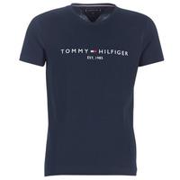 vaatteet Miehet Lyhythihainen t-paita Tommy Hilfiger TOMMY FLAG HILFIGER TEE Laivastonsininen