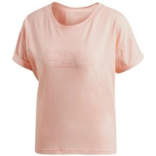 vaatteet Naiset Lyhythihainen t-paita adidas Originals Ess Allcap Tee Vaaleanpunaiset