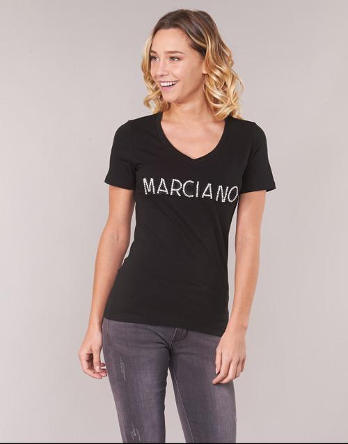Marciano Logo Patch Crystal Black - Ilmainen Toimitus- Vaatteet Lyhythihainen T-paita Naiset 50
