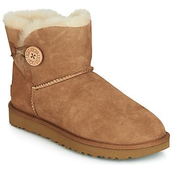 kengät Naiset Bootsit UGG MINI BAILEY BUTTON II Camel
