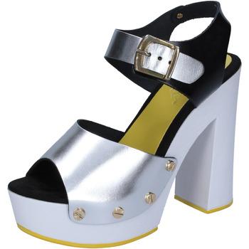 kengät Naiset Korkokengät Suky Brand sandali argento nero pelle BS16 Argento
