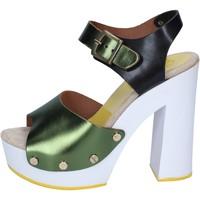 kengät Naiset Korkokengät Suky Brand sandali verde nero pelle BS18 Verde