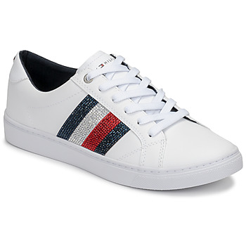 kengät Naiset Matalavartiset tennarit Tommy Hilfiger CRYSTAL LEATHER CASUAL SNEAKER White