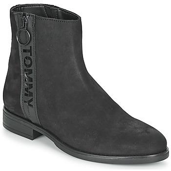 kengät Naiset Bootsit Tommy Jeans TOMMY JEANS ZIP FLAT BOOT Black