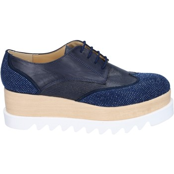 kengät Naiset Derby-kengät & Herrainkengät Olga Rubini classiche blu pelle sintetica camoscio strass BS96 Blu