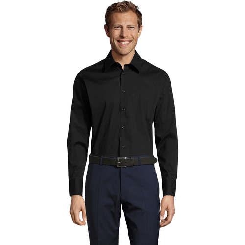 vaatteet Miehet Pitkähihainen paitapusero Sols BRIGHTON STRECH Negro